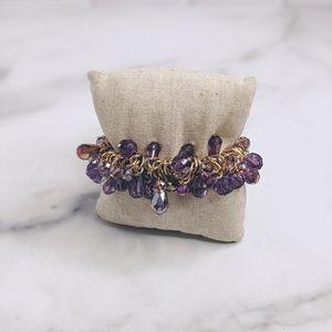 Gold & purple crystal bead stretch bracelet
